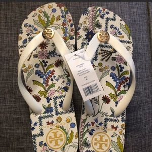 Tory Burch White Flowers Flip Flop